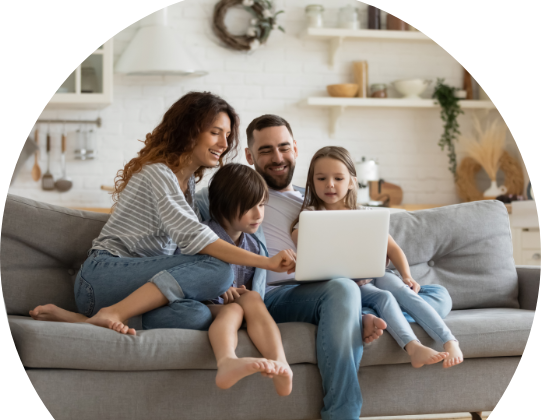 Choose a New Electricity Provider | Family Image at Computer