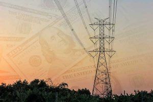 Electricity Rates Changes Illustration   Powerlines and Money