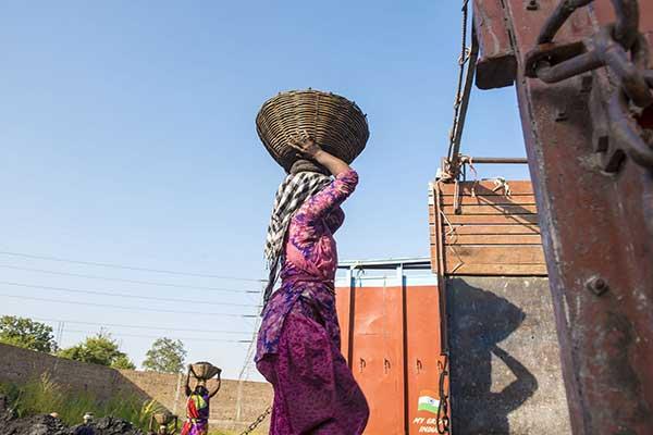 Asian Coal Carry Basket on Head